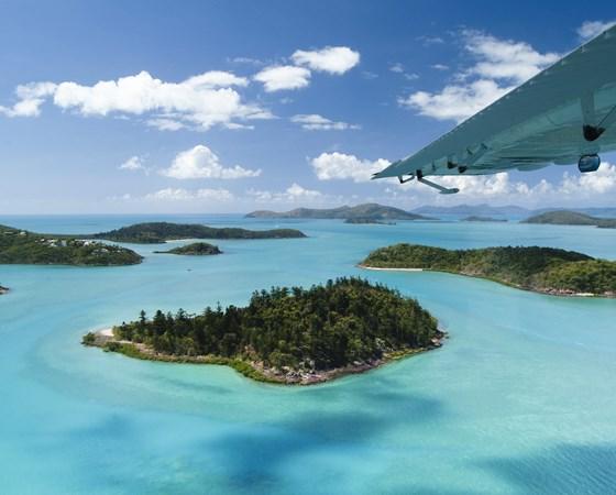 Flight over the Whitsunday Islands Australia