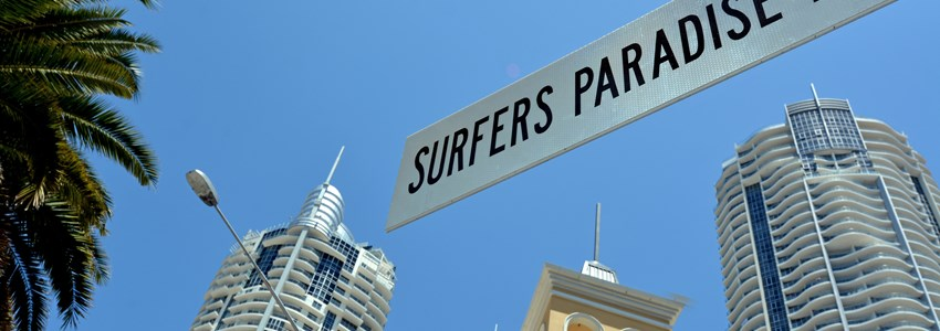 Street sign of Surfers paradise Blvd in Surfers Paradise Gold Coast Australia.It's the heart of Gold Coast entertainment district.