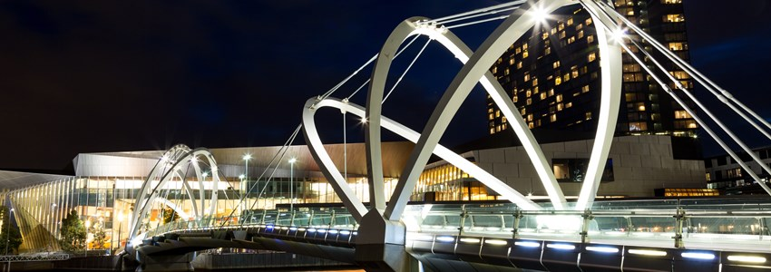 Seafarers Bridge in Melbourne, Victoria, Australia. Viewed towards the Melbourne Convention Centre over the Yarra River