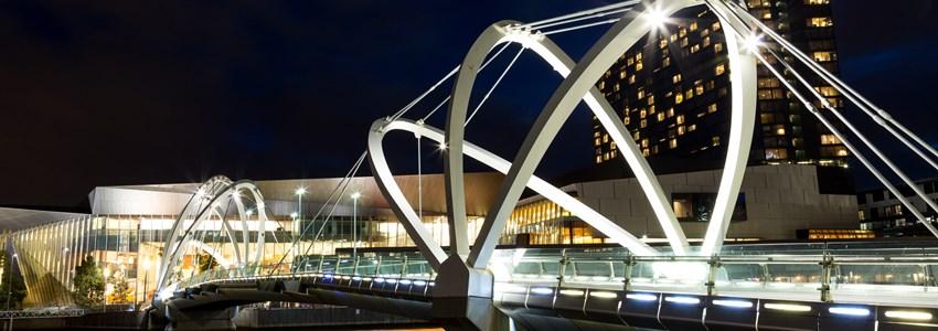 Seafarers Bridge in Melbourne, Victoria, Australia. Viewed towards the Melbourne Convention Centre over the Yarra River