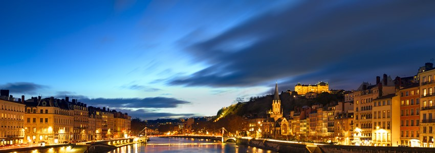 View of Saone river in Lyon city at evening