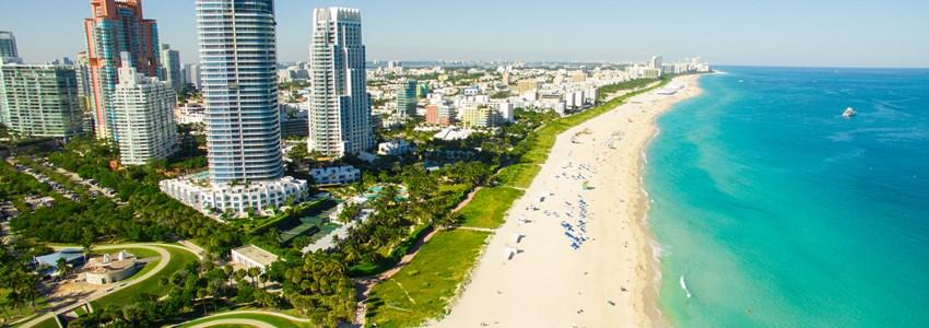Miami skyline and beach