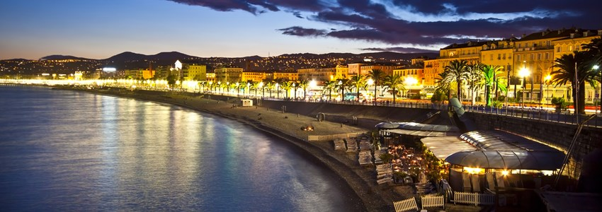 The beach and the waterfront of Nice at night, France.