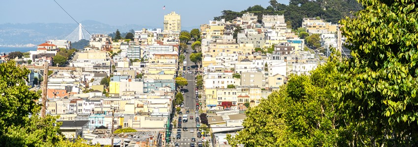 panoramic views of san francisco slope streets, california