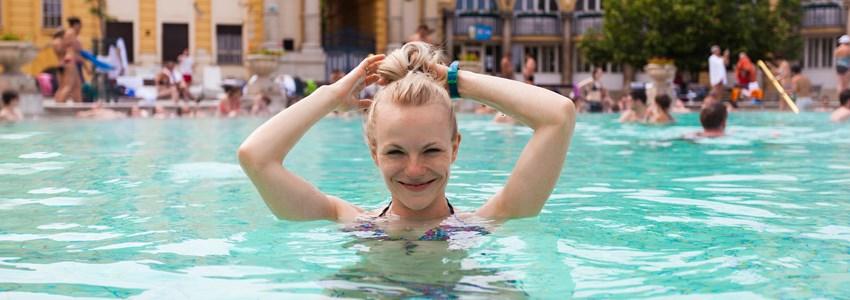 happy girl enjoying spa in budapest