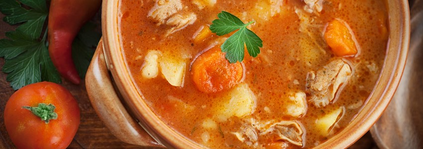 hungarian goulash soup with vegetables paprika