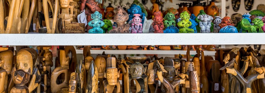 Traditional souvenirs in a tourists shop in Dominican Republic