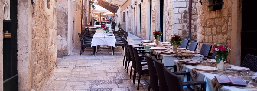 Street restaurant in heart of Dubrovnik old town, Europe
