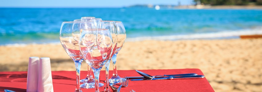 Party table on caribbean beach
