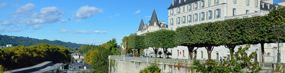 There are edifices, an alley of the topiary trees and a public garden in the Boulevard of Pyrenees.