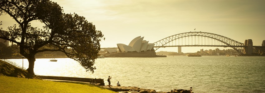 View of Sydney Harbour at sunset from Mrs Macquaries Chair in the Royal Botanic Gardens