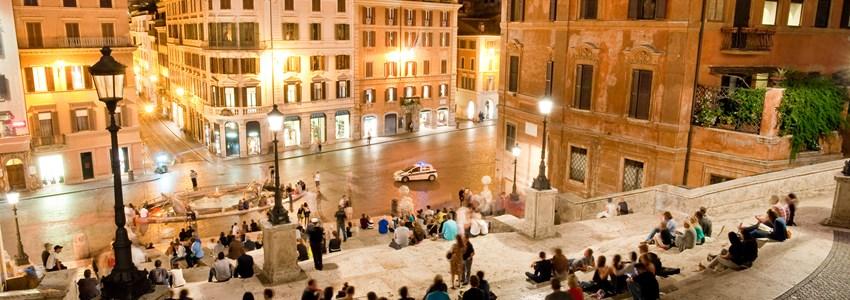 Night view at Piazza di Spagna from upstairs horizontal