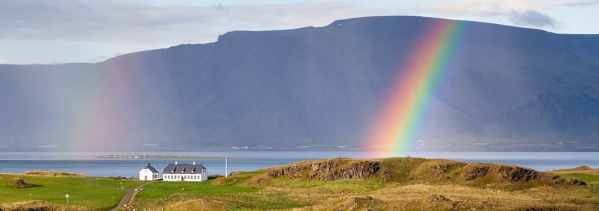 Reykjavik landscape with rainbow