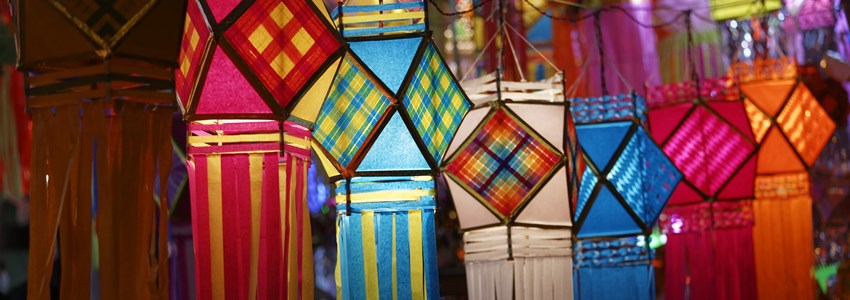 Traditional lantern close ups on street side shops on the occasion of Diwali festival in Mumbai, India.