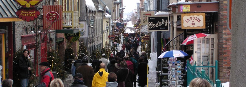 People in street of old city of Quebec