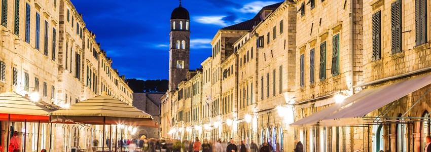 Walking street in Dubrovnik in a beautiful summer night, Croatia