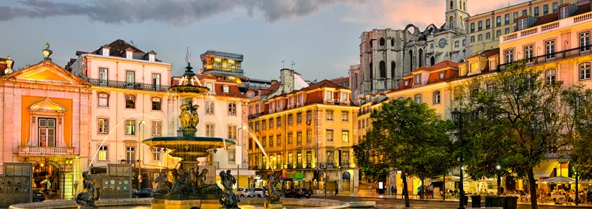 Rossio square and Santa Justa elevator in Lisbon, Portugal