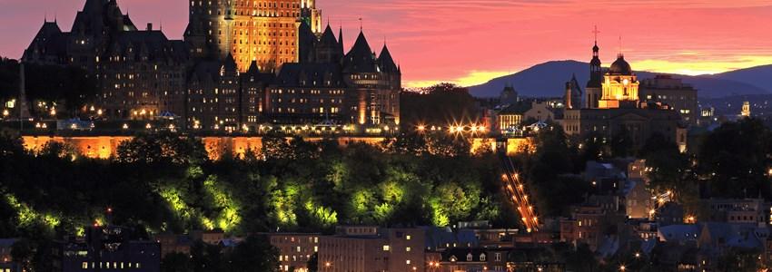 Quebec City skyline at dusk, Canada