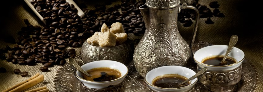Arabic coffee pot with hot coffee