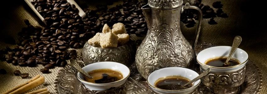 Arabic coffee pot with hot coffee
