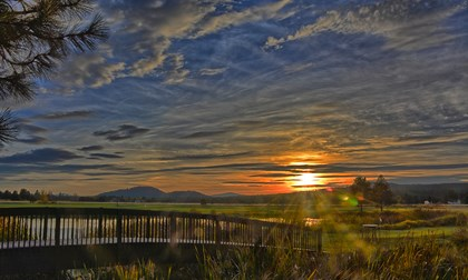 sunset at Sunriver Resort in Central Oregon