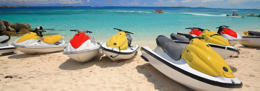 Jetski on Paradise Island beach of Atlandtis , Nassau, Bahamas.