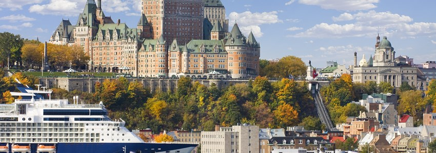 Quebec City skyline and St Lawrence River in autumn, Canada