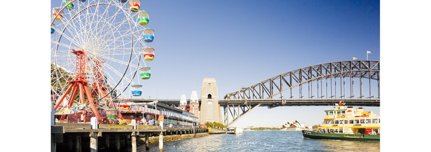 Luna Park at Milsons Point with views to Harbour Bridge and Opera House