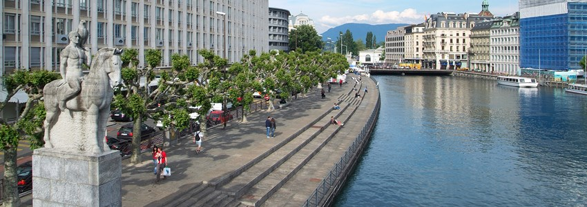 General view of Geneva. The city of Geneva, in Switzerland, Europe.