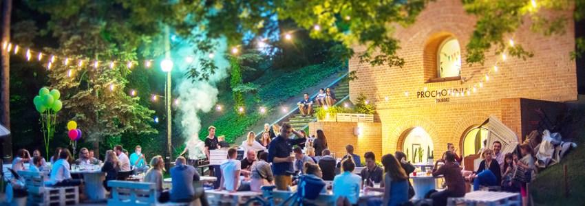 cute Warsaw backyard with fairy lights