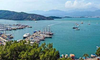 Yachts and gulets in the harbor of Marmaris, Turkey
