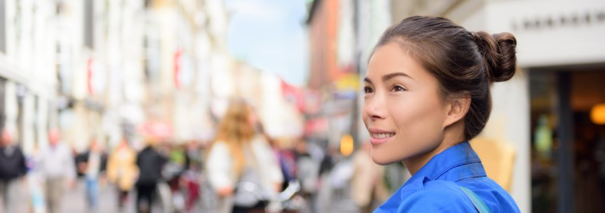 Shopping woman lifestyle in Copenhagen street.