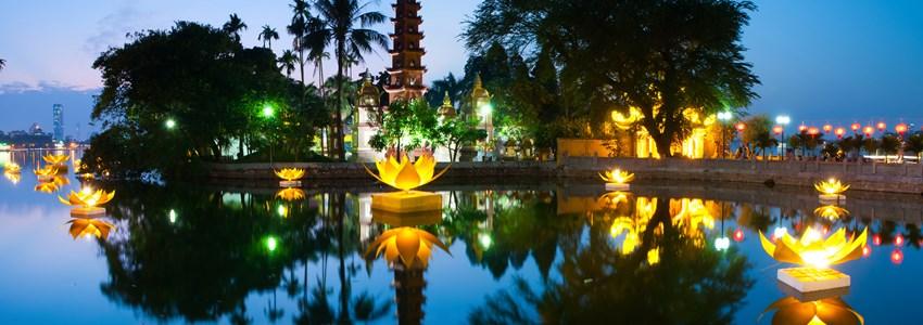 Tran Quoc pagoda in the full-moon day. Hanoi, Vietnam