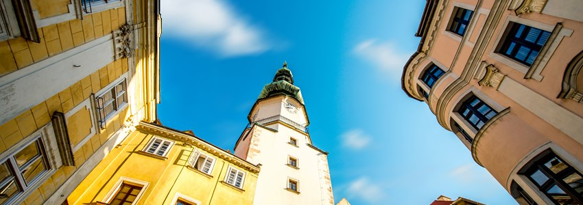 Famous St. Michaels watch tower in the old town of Bratislava city, Slovakia