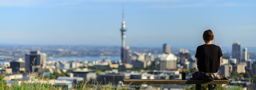 Woman enjoys spectacular morning views of Auckland city