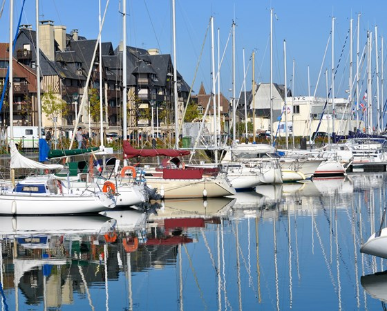 Boats in Deauville on a beautiful sunny day