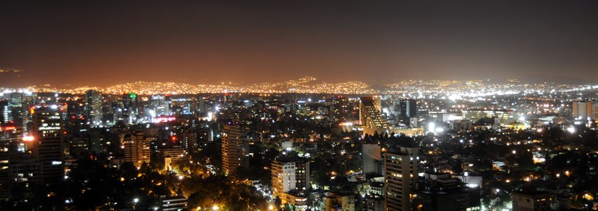 Skyline of Mexico City at night
