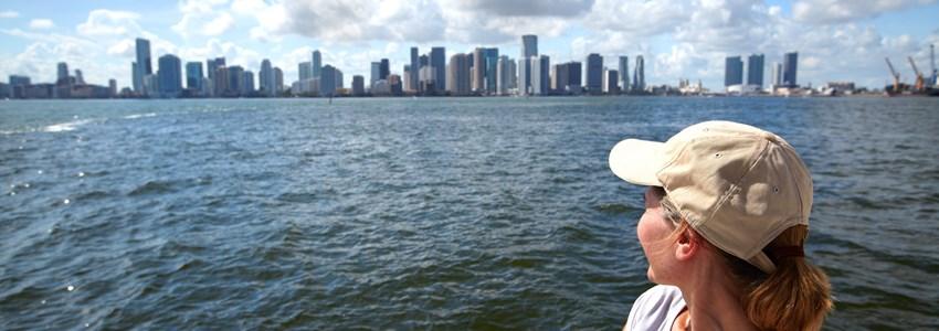 Woman tourist on miami cruise.