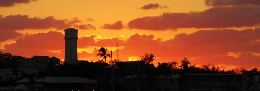 The dramatic sunset skyline over Nassau downtown