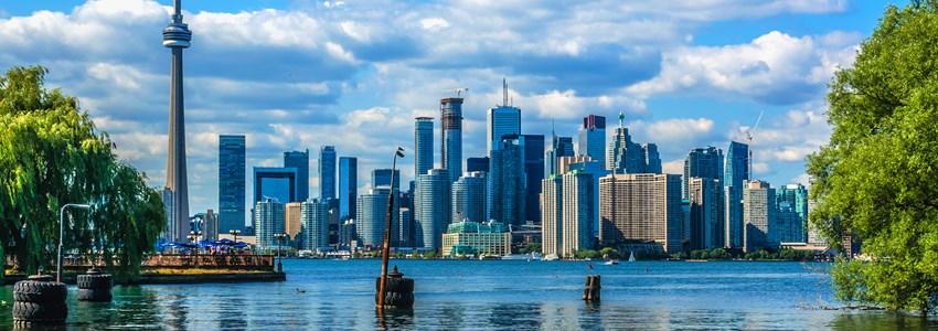 The beautiful Toronto's skyline over lake. Toronto, Ontario, Canada.