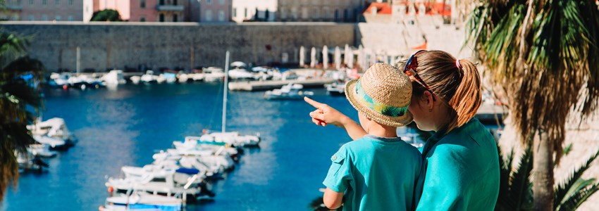 mother and son looking at Dubrovnik, Croatia