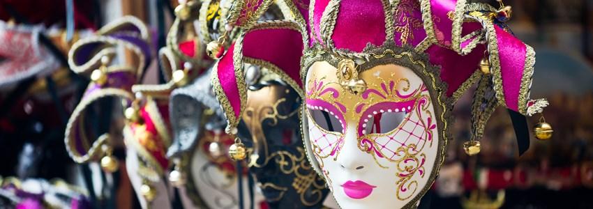 Various venetian masks on sale
