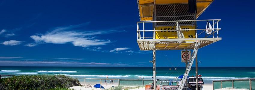 Lifesaver patrol tower on the Gold Coast, Queensland, Australia