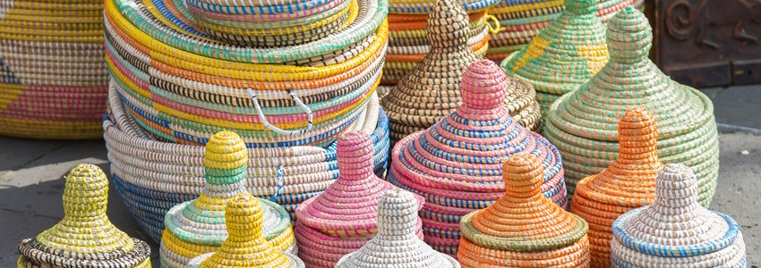 A lot of baskets of sea grass made by women in Africa from Senegal