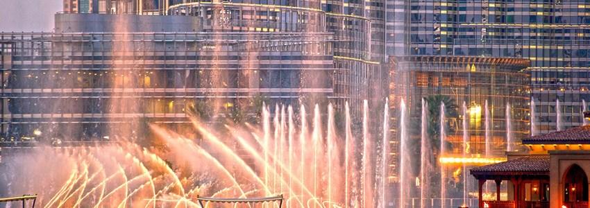 singing fountains during sundown