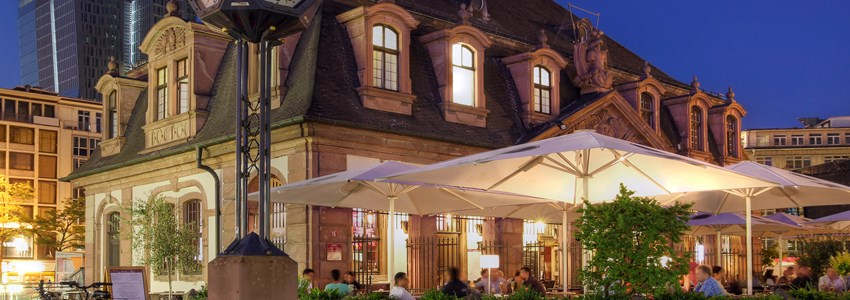 Night scene with Hauptwache, a former guard-house which today stands in the middle of a square bearing its name in Frankfurt city, Germany.