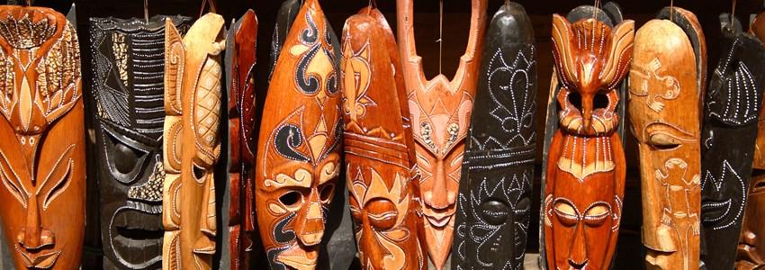 Masks at straw market Nassau, Bahamas.