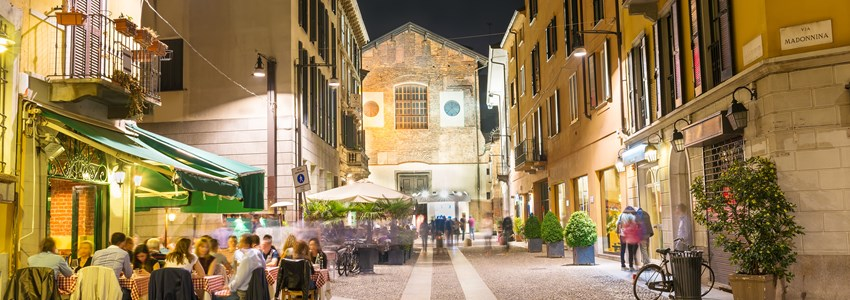 Old street in Milan at night, Italy