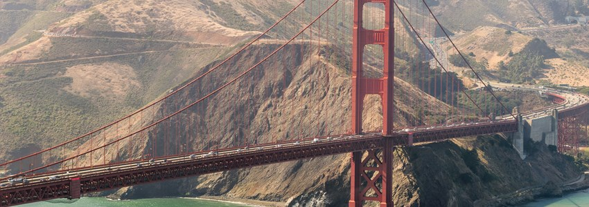 Golden Gate Bridge and Sausalito as seen from Helicopter