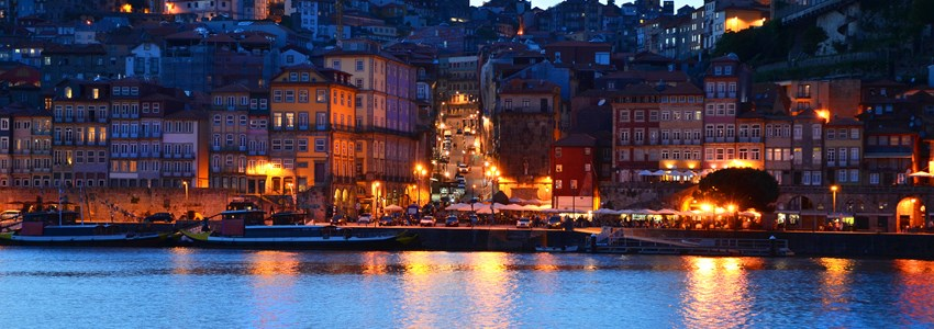 Porto and its old town Ribeira by night